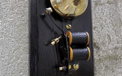 Vintage doorbell clipcord holder, restored gadget I found in pieces in a shop.