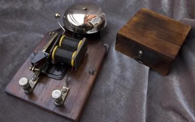 Clipcord holder made from a restored doorbell found in a fleamarket.