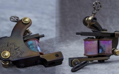 Mini Walker liner machine, heat blued with mandala engraving.