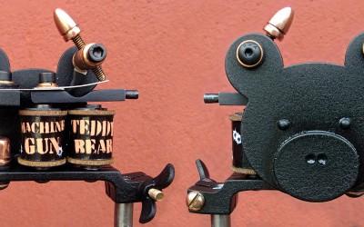 Lefty ''machine gun teddy bear'' mini liner. Copper binding posts and bullet contact top.