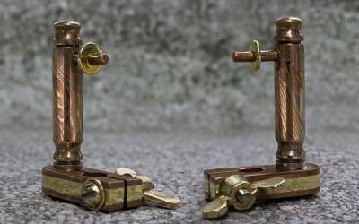 Handpoking tool, mokume gane post on a copper/brass/copper sandwich base.